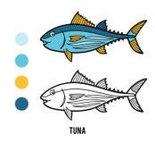 Färgläggningbok, tonfisk stock illustrationer