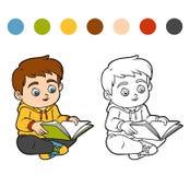 Färgläggningbok, ung pojke som läser en bok stock illustrationer