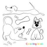 Färgläggningboken för barn inkluderar tre olika hundkapplöpning Royaltyfri Foto