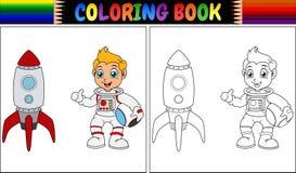 Färgläggningboken med astronautungen och raket sänder stock illustrationer
