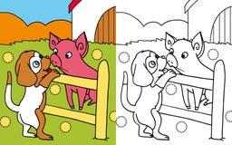 Färgläggningbokhund och pig Fotografering för Bildbyråer