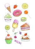 Färgläggningbokillustration av efterrätter och sötsaker Fotografering för Bildbyråer