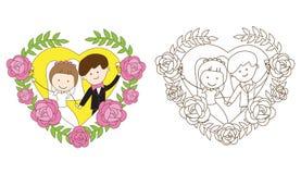 Färgläggningbröllopsida Royaltyfri Fotografi