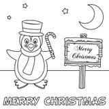 Färgläggningjulkort med pingvinet Royaltyfri Bild