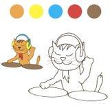 Färgläggningkatt dj med färgprövkopior för barn vektor illustrationer