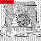 Färgläggningkattsida för vuxna människor Den allvarliga katten sitter i hans katthus Hand dragen illustration med modeller Arkivbild