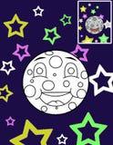 FärgläggningMoon och stjärnor Arkivbild