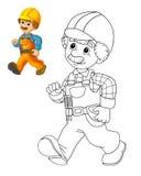 Färgläggningplattan - byggnadsarbetare - illustration för barnen med förtitt Arkivbild