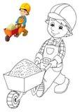 Färgläggningplattan - byggnadsarbetare - illustration för barnen med förtitt Royaltyfri Bild
