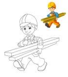 Färgläggningplattan - byggnadsarbetare - illustration för barnen med förtitt Royaltyfria Bilder