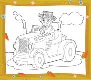 Färgläggningplattan - lantgårdmedel - illustration för barnen Arkivfoto