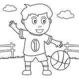 Färgläggningpojke som spelar basket i parkera stock illustrationer