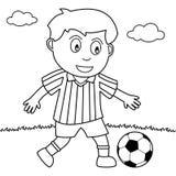 Färgläggningpojke som spelar fotboll i parkera royaltyfri illustrationer