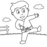 Färgläggningpojke som spelar karate i parkera vektor illustrationer