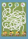 Färgläggningsidan med övning - labyrint - skolatemat - illustration för barnen royaltyfri illustrationer
