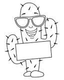 Färgläggningtecknad filmkaktus med solglasögon stock illustrationer