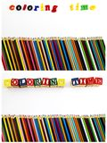 Färgläggningtid märker blyertspennakopieringsutrymme Arkivbilder