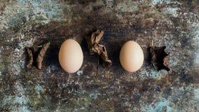 Färglösa naturliga easter ägg, lyckligt easter begrepp, easter bakgrund Royaltyfri Bild