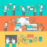 Färglinje baner för mobil och rengöringsdukapps och service Arkivbilder