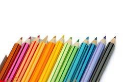 färglinje blyertspennor royaltyfri foto