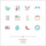 Färglinje symbolsuppsättning av apotekobjekt och produkter Apotek L Royaltyfri Fotografi