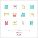 Färglinje symbolsuppsättning av askar och packeobjekt, hjälpmedelbeståndsdelar Royaltyfri Bild