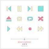 Färglinje symbolsuppsättning av den moderna minimalistic användaren int för massmediaspelare Royaltyfri Foto