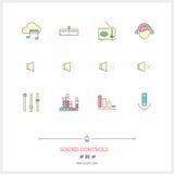 Färglinje symbolsuppsättning av den moderna minimalistic användaren int för massmediaspelare Royaltyfri Bild