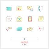 Färglinje symbolsuppsättning av kontaktformen, information, objekt och till Royaltyfri Foto