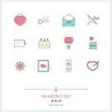 Färglinje symbolsuppsättning av valentin dag- och förbindelseobjekt och Arkivfoton