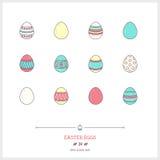 Färglinjen symbolsuppsättning av ferieeaster ägg anmärker Logosymboler V Royaltyfri Foto