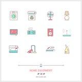 Färglinjen symbolsuppsättning av hem- utrustning anmärker Logosymboler Royaltyfri Foto