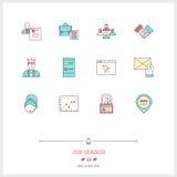 Färglinjen symbolsuppsättning av jobbsökandet och personalresurser anmärker, t Royaltyfria Bilder