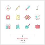 Färglinjen symbolsuppsättning av kökmaterial anmärker Logosymboler Arkivfoton