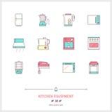 Färglinjen symbolsuppsättning av kökutrustningar anmärker, hjälpmedel och ele Arkivfoto
