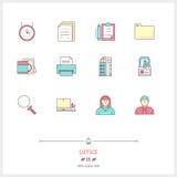 Färglinjen symbolsuppsättning av kontorsutrustning, anmärker och bearbetar eleme Royaltyfri Fotografi