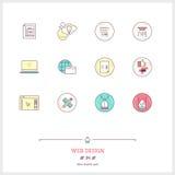 Färglinjen symbolsuppsättning av processen för arbete för rengöringsdukdesignen anmärker UI och U Royaltyfri Fotografi