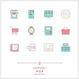 Färglinjen symbolsuppsättningen av shopping, lager anmärker och bearbetar beståndsdelen Royaltyfri Fotografi
