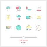 Färglinjen symbolsuppsättningen av teknologiutrustning, process, anmärker Arkivbild