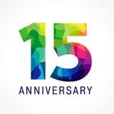 färglogo för 15 årsdag stock illustrationer