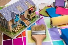 färgmärkduk med husplan Royaltyfri Bild