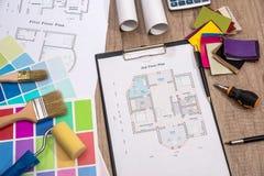 färgmärkduk med husplan Arkivbilder
