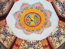 Färgmålning på tak av den kinesiska templet Fotografering för Bildbyråer