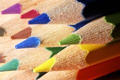 färgmakroblyertspennor Arkivbilder