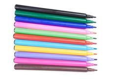 Färgmjuk-spets penna på vit bakgrund Royaltyfri Fotografi
