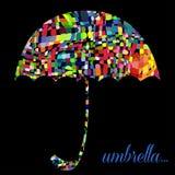 Färgparaply på den svarta bakgrunden vektor royaltyfri illustrationer