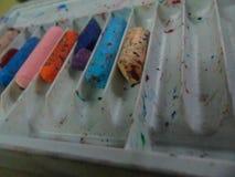 Färgpastell som används Arkivfoto