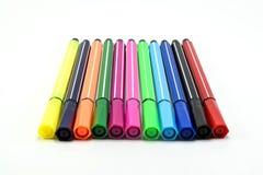 Färgpenna på vit bakgrund Fotografering för Bildbyråer