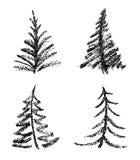 Färgpenna som stil för teckning för barn` s av uppsättningen för träd för glad jul vektor illustrationer
