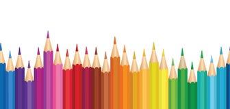 Färgpennabakgrund Sömlös horisontalgränsmodell för färgrik blyertspenna stock illustrationer